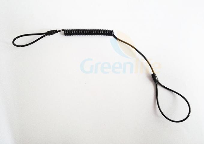 Big Double Loop Black Stretchable Coil Tool Lanyard For Safety