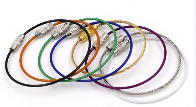 Stainless Steel Wire Lanyard Accessories Colored PU Coated Wrist Band With Lock Loop