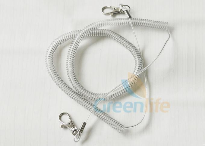 Retractable Steel Coil Lanyard With Clip , 5M Working Length Plastic Coil Tether