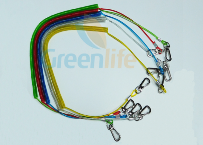 Colorful TPU Coated Paddle Leash For Kayak Braided Steel Fishing Spring Tethers