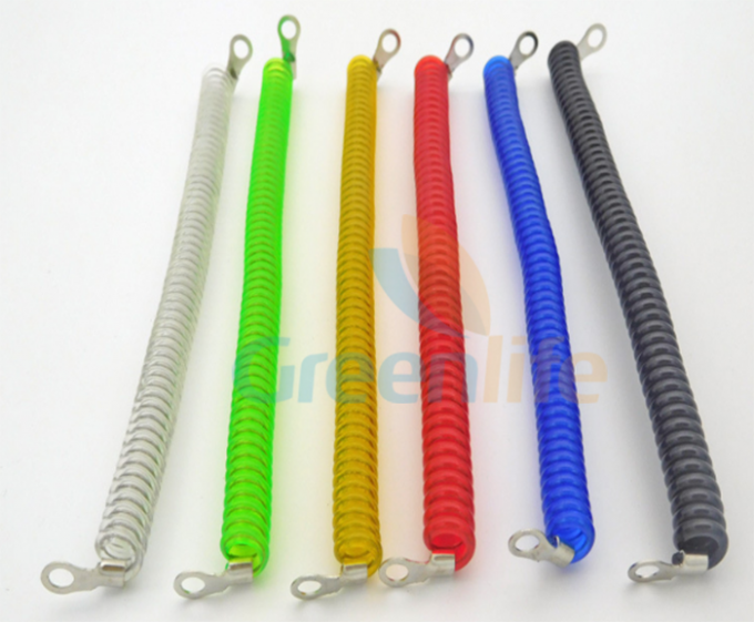 Extendable Colored Steel Wire Coiled Security Tethers With Terminal 2PCS