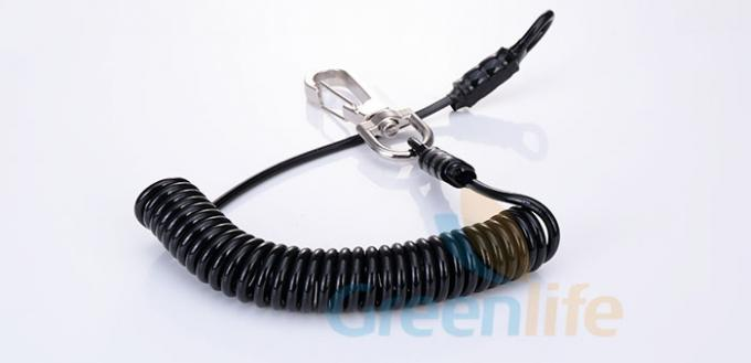 Heavy Duty Tether Cord Steel Reinforced Black Polyurethane Coiled Jacket With Snaps