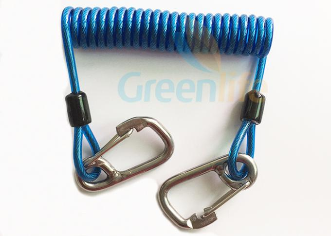 Retractable Tool Tether Lanyards Blue Spring Elastic Plastic Coiled Tethers