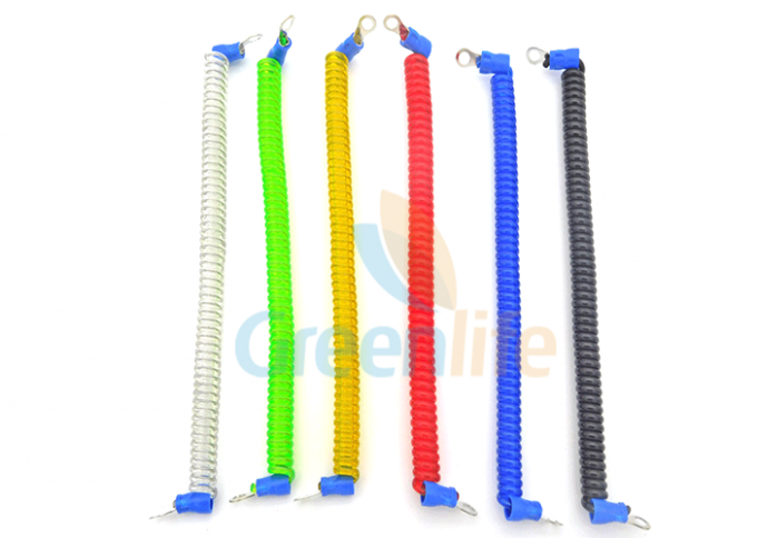 Coloured Steel Wire Retractable Coil Cord With Eyelet Terminals / Protectors