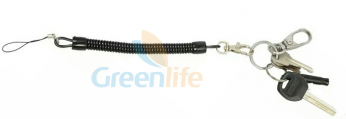 Standard Coiled Key Lanyard Slim Spring Black Color For Multi - Purpose Daily Use