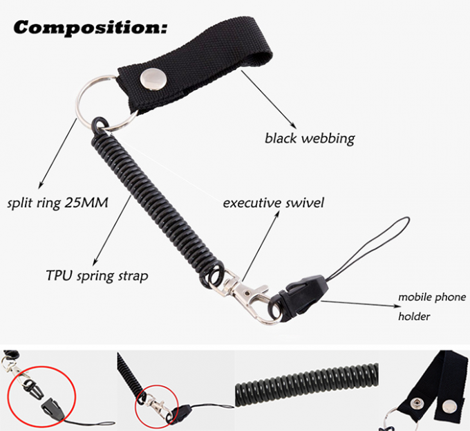 Multifunctional Coiled Key Lanyard Plastic Black Bungee Elastic Cord For Clipping Key / Phone