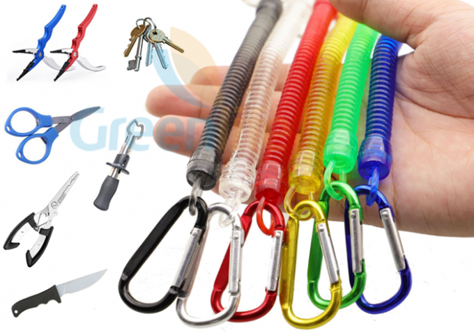 Colorful Spring Coil Lanyard Economical Fly Fishing Accessory With Colored Carabiner