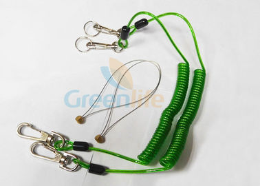 China Green Tool Safety Lanyards , Plastic Coiled Lanyard Cord For Scaffolding factory
