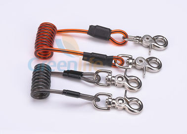 China Double Colors Coil Tool Lanyard 5.0 * 50MM Safety With Zinc Alloy Swivel Snap Hooks distributor