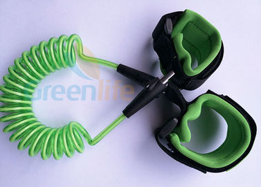 China Retractable Plastic Spring Baby Wrist Link With Straps Green 1.5M Stretched Length distributor