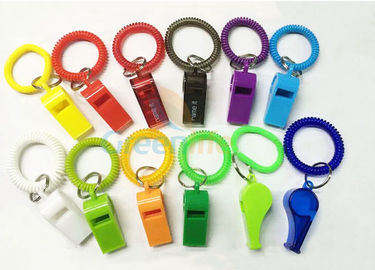 Flex Colored Plastic Wrist Coil With Whistle Soft Spring Coil Key Chains