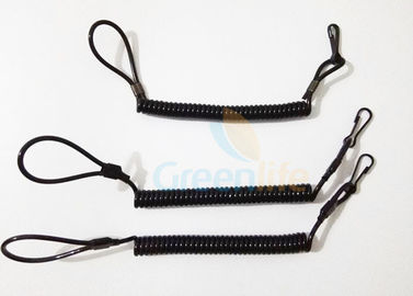 China High Strength Black Pistol Bungee Coil Lanyard For Duty Belt Loop 150MM Wire factory