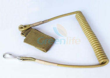 China Khaki Military Pistol Lanyard , Rentention Tactical Pistol Sling Secure factory
