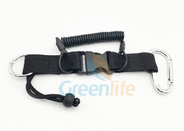 China Plastic Heavy Webbing Quick Release Coil Lanyard Solid Black Swiming Tether factory
