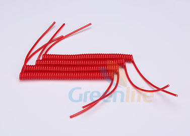 China Polyurethane Tubing Custom Retractable Coil Cord , 15cm Long Jet Ski Kill Cord distributor