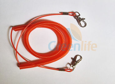 China Promotional Spiral Retractable Fishing Lanyard , Red Coiled Security Tethers factory