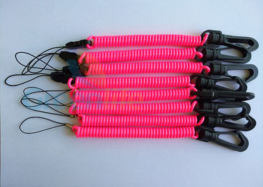 Retention Quick Release Spring Clip Coiled Key Lanyard  Custom Pink Spiral With String Loop