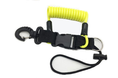 China Yellow Cord Quick Release Coil Lanyard For Scuba Diving Stopdrop Expander Safety factory