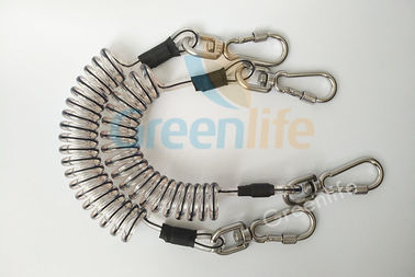 China Core Reinforced Coil Tool Lanyard 1.5 Meters With Stainless Steel Clips distributor