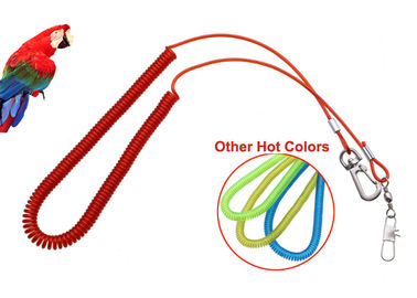 China Plastic Red Wire Coil Lanyard Parrot Fly Training Security With Snap Hook / Pin distributor