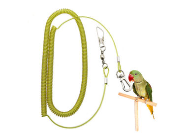 China Stretchable 5 Meter Parrot Flying Rope Yellow Wire Coil Style Leash With Thumb Hook distributor