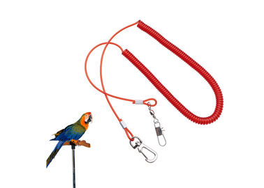 China Custom Parrot Safe Rope Plastic Red Wire Coil Lanyard For Fly Training Security factory