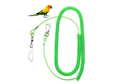 China Green Wire Coil Parrot Climbing Rope TPU With Snap One End / Pin Holder One End distributor