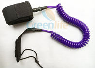 High Security 10'' Length Coiled SUP Leash Custom Purple Color Attach Leg