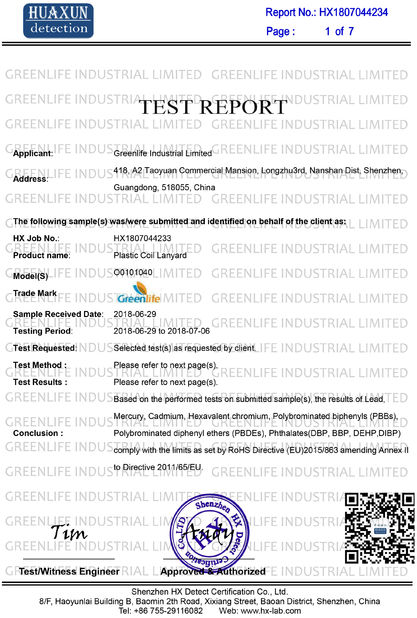 China Greenlife  Industrial  Limited certification